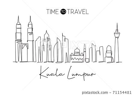Single continuous line drawing of Kuala Lumpur city skyline, Malaysia. Famous city landscape 71154481