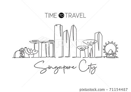 One continuous line drawing of Singapore city skyline. Beautiful landmark. World landscape tourism 71154487