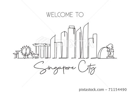 Single continuous line drawing of Singapore city skyline. Famous city scraper and landscape 71154490