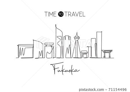 Single continuous line drawing of Fukuoka city skyline, Japan. Famous city scraper and landscape 71154496