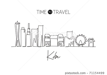 Single continuous line drawing of Kobe city skyline, Japan. Famous city scraper and landscape 71154499