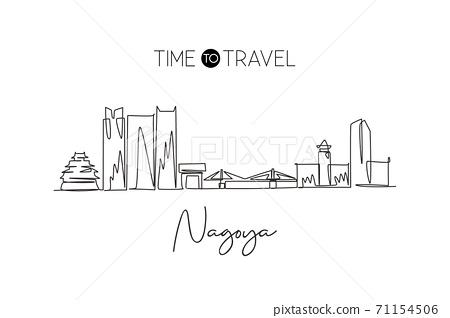 Single continuous line drawing of Nagoya city skyline, Japan. Famous city scraper and landscape 71154506