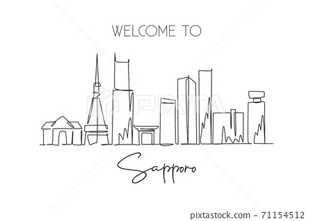 Single continuous line drawing of Sapporo city skyline, Japan. Famous city scraper and landscape 71154512