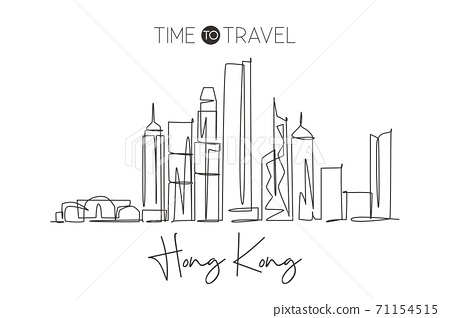One continuous line drawing of Hong Kong city skyline, China. Beautiful landmark wall decor 71154515