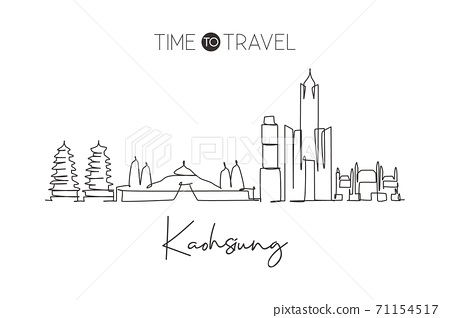 Single continuous line drawing of Kaohsiung city skyline, Taiwan. Famous city scraper 71154517