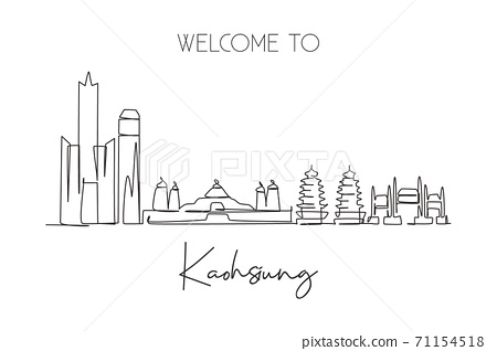 One continuous line drawing of Kaohsiung city skyline, Taiwan. Beautiful landmark 71154518