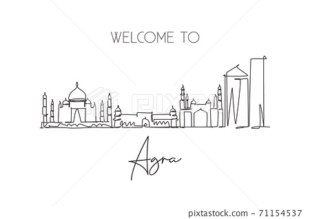 Single continuous line drawing of Agra city skyline, India. Famous city scraper and landscape 71154537