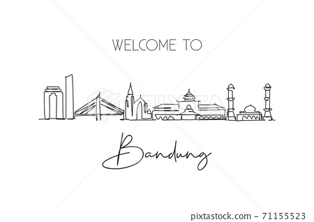 One continuous line drawing of Bandung city skyline, India. Beautiful city landmark 71155523