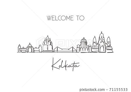 One single line drawing of Kolkata city skyline, India. Historical town landscape in the world 71155533