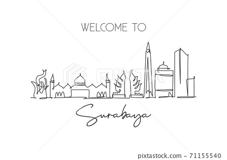 One single line drawing of Surabaya city skyline Indonesia. Historical town landscape 71155540