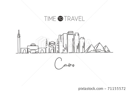 One single line drawing of Cairo city skyline, Egypt. Historical town landscape postcard print 71155572
