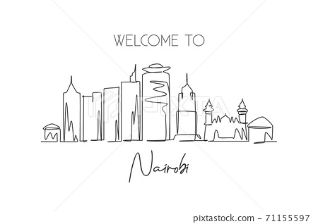Single continuous line drawing of Nairobi city skyline, Kenya. Famous city scraper and landscape 71155597