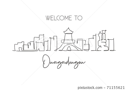Single continuous line drawing of Ouagadougou city skyline, Burkina Faso. Famous city scraper 71155621