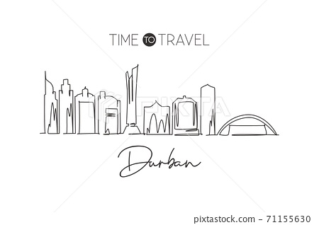 One continuous line drawing of Durban city skyline, South Africa. Beautiful landmark postcard print 71155630