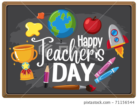 Happy Teacher's Day sign with set of stationary 71156544