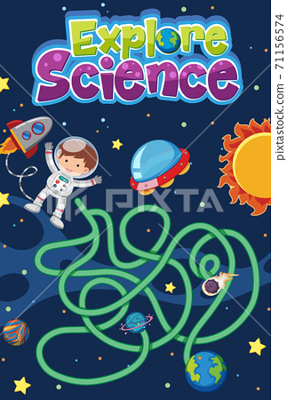 Maze game for kids with explore science logo in 71156574