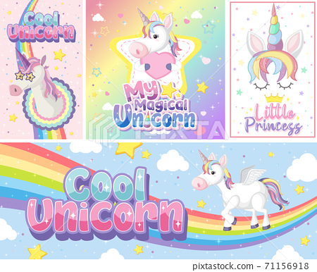 Cute unicorn banner on pastel background color 71156918