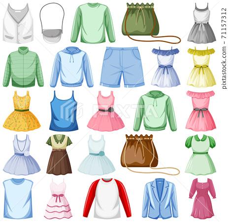 Set of fashion outfits 71157312