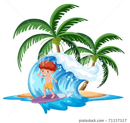 Boy on the tropical island surfing board on wave 71157327