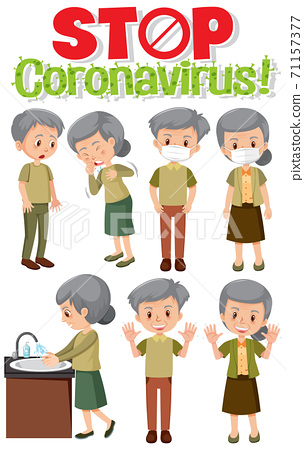 Stop coronavirus logo with set of old people in 71157377