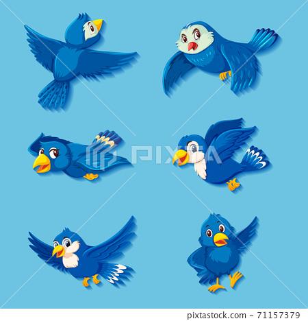 Cute blue bird cartoon character 71157379