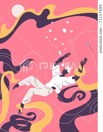 Depression concept illustration. Young man with mental health problems, drowns and suffocates in sea of sadness. Octopus tentacles drag him to the bottom 71157899