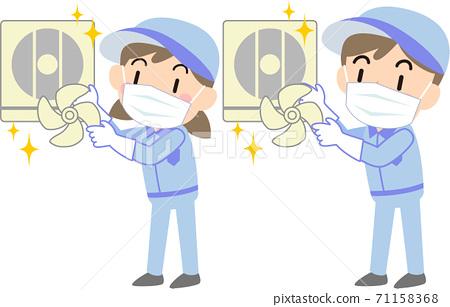 戴著面具的清潔公司清潔廚房的通風風扇 71158368