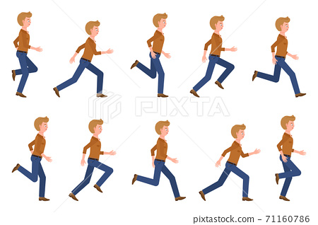 Young, adult man wearing jeans running sequence poses vector illustration. Fast moving forward, hurry, rush male person cartoon character set 71160786