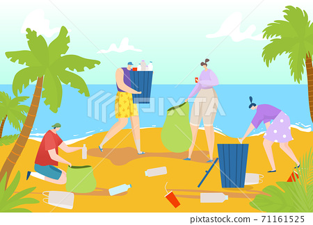 Environment plastic pollution, vector illustration. Garbage waste at ecology nature, people pick up cartoon trash. People character cleaning ocean 71161525