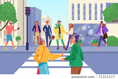 Crosswalk road, people wait for traffic light signal at street, vector illustration. Urban sidewalk for safety, caution at red stop light 71161527