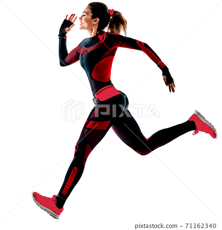 woman runner running jogger jogging jumpsuit isolated white background 71162340