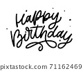 Happy Birthday lettering calligraphy brush vector typography text illustration 71162469