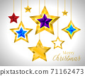 Set of simple gold colorful stars, EPS 10 New year Christmas 71162473