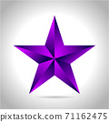 illustration of a purple gold star on steel background. vector file New year Christmas 71162475