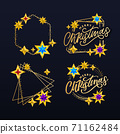 Merry Christmas card with hand drawn lettering and stars on dark background. Cute Holiday golden frame background 71162484