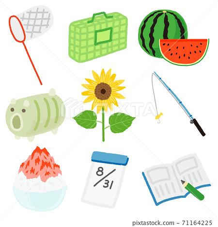暑假圖標集昆蟲捕捉,家庭作業,釣魚 71164225