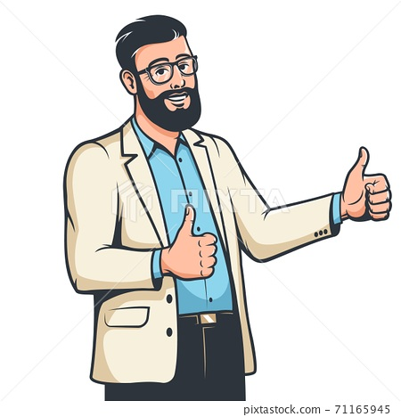 Bearded businessman in glasses with like gesture 71165945