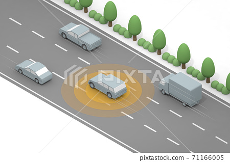 自動駕駛高速運行。自動運行的汽車。用AI控制汽車。安全駕駛技巧。 71166005