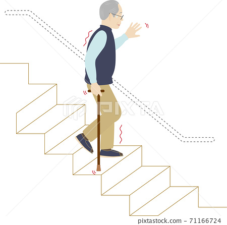 Elderly man in trouble because there are no railings on the stairs 71166724