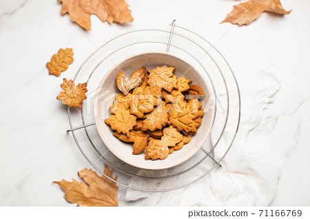 Homemade autumn gingerbread cookies top down view 71166769