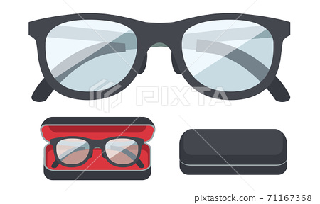 眼鏡和眼鏡盒的插圖素材 71167368