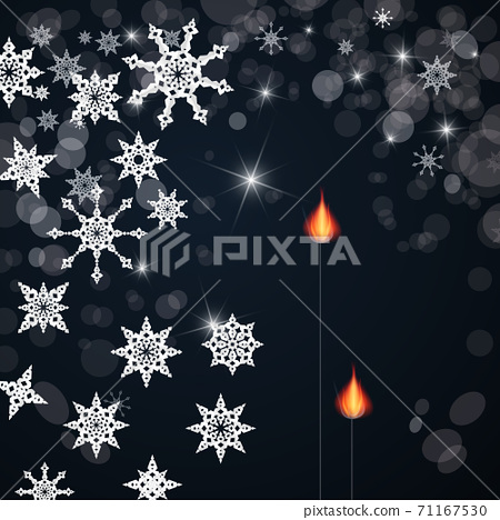 Vector Background with Paper Cut Stars and Lit Flames on Dark Backdrop 71167530