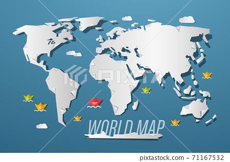 World Map Paper Cut Vector Cartoo 71167532