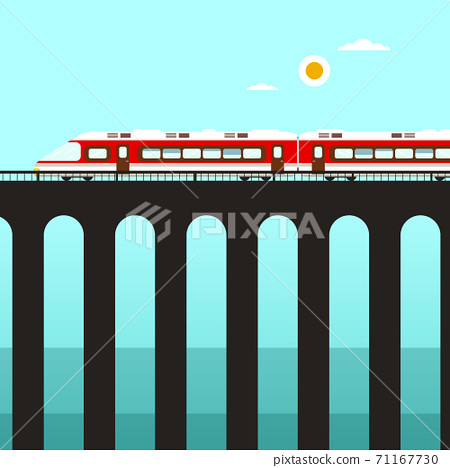 Train on Tall Bridge over River or Ocean  71167730