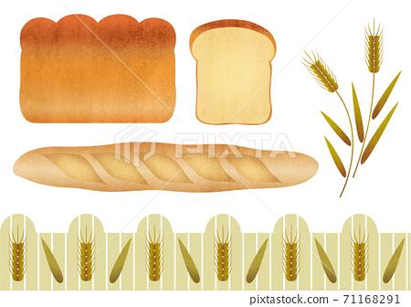 麵包和小麥的材料插圖集 71168291