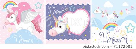 Set of cute unicorn or pegasus in pastel color 71172083