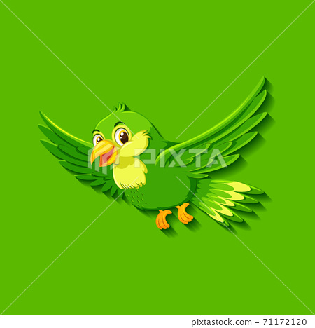 Cute green bird cartoon character 71172120