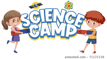 Science camp logo and kids holding magnet isolated 71172136