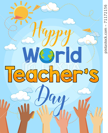 Happy World Teacher's Day with many hands poster 71172156