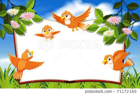 Happy bird in nature background blank banner 71172160